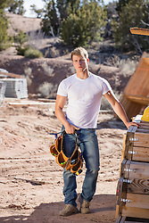 hot construction worker on a job site