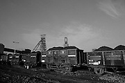 Rail wagons filled with coal at Barnburgh Colliery, British Coal, South Yorkshire Area . 09-02-1989
