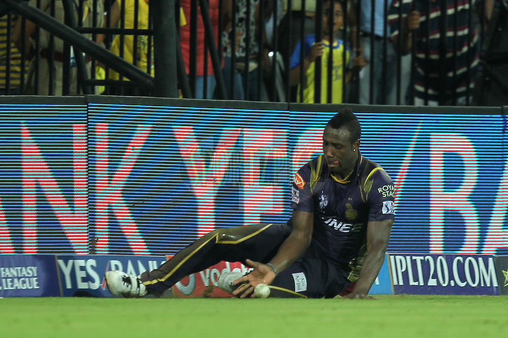 Andre Russell of Kolkata Knight Riders fields during match 28 of the Pepsi IPL 2015 (Indian Premier League) between The Chennai Superkings and The Kolkata Knight Riders held at the M. A. Chidambaram Stadium, Chennai Stadium in Chennai, India on the 28th April 2015.Photo by:  Prashant Bhoot / SPORTZPICS / IPL