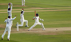 Yorkshire's Andy Hodd is bowled for an LBW by Essex's Simon Harmer (not in picture) during day three of the Specsavers County Championship, Division One match at the Cloudfm County Ground, Chelmsford.