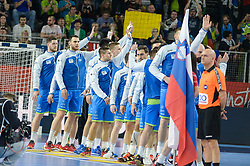 Team of Slovenia during handball match between National teams of Slovenia and Denmark on Day 2 in Main Round of Men's EHF EURO 2018, on January 19, 2018 in Arena Varazdin, Varazdin, Croatia. Photo by Mario Horvat / Sportida