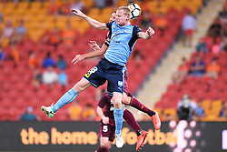 January 8, 2018 - Brisbane, QUEENSLAND, AUSTRALIA - Daniel Bowles of the Roar (4) and Matthew Simon of Sydney (18, blue) compete for the ball during the round fifteen Hyundai A-League match between the Brisbane Roar and Sydney FC at Suncorp Stadium on Monday, January 8, 2018 in Brisbane, Australia. (Credit Image: © Albert Perez via ZUMA Wire)