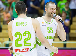 Uros Slokar of Slovenia and Ziga Dimec of Slovenia after the friendly basketball match between National teams of Slovenia and Australia, on August 3, 2015 in Arena Tri lilije, Lasko, Slovenia. Photo by Vid Ponikvar / Sportida
