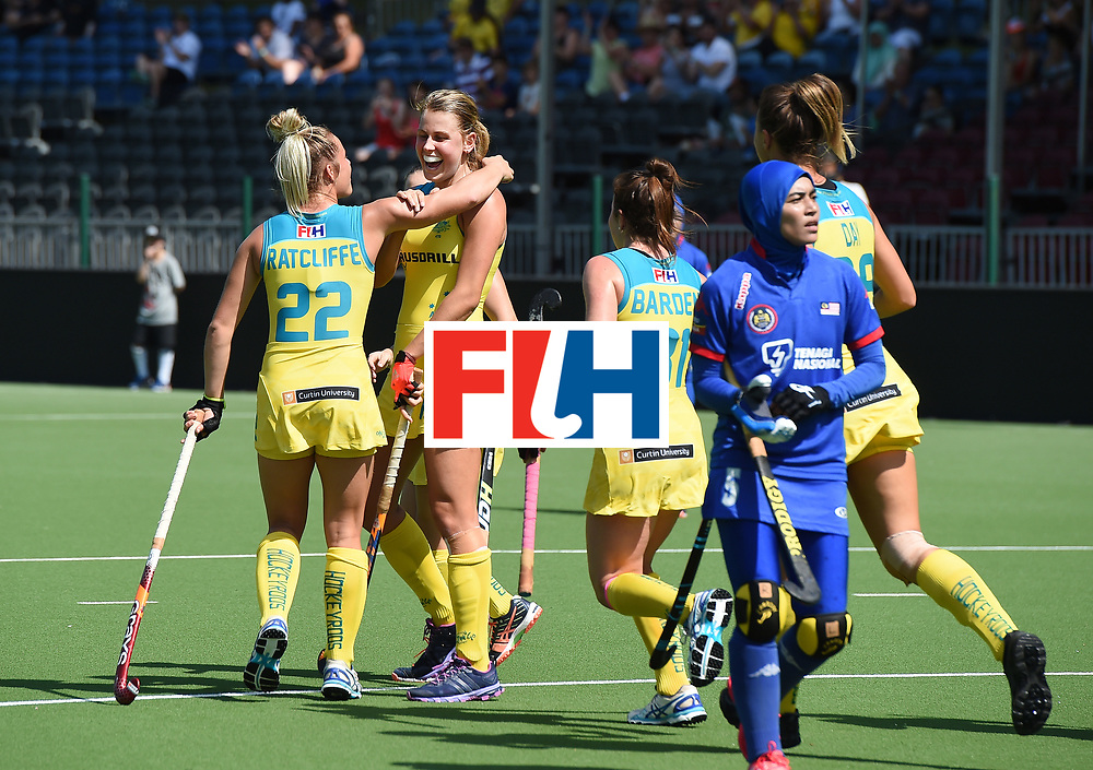 BRUSSELS, BELGIUM - JUNE 21: Maddy Fitzpatrick of Australia is congratulated by team mates after opening the scoring during the FINTRO Women's Hockey World League Semi-Final Pool B game between Australia and Malaysia on June 21, 2017 in Brussels, Belgium. (Photo by Charles McQuillan/Getty Images for FIH)