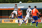 Forest Green Rovers Christian Doige (9) heads the ball during the Vanarama National League match between Braintree Town and Forest Green Rovers at the Amlin Stadium, Braintree, United Kingdom on 24 September 2016. Photo by Shane Healey.