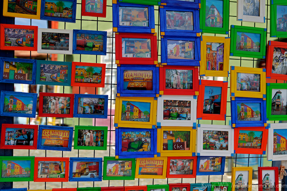 South America, Argentina, Buenos Aires. Colorful display of art in La Boca neighborhood.