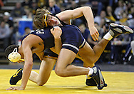 January 29, 2010: Iowa's Jay Borschel tries to control Penn State's Justin Ortega in the 174-pound bout at Carver-Hawkeye Arena in Iowa City, Iowa on January 29, 2010. Borschel won the match 14-2 and Iowa defeated Penn State 29-6.