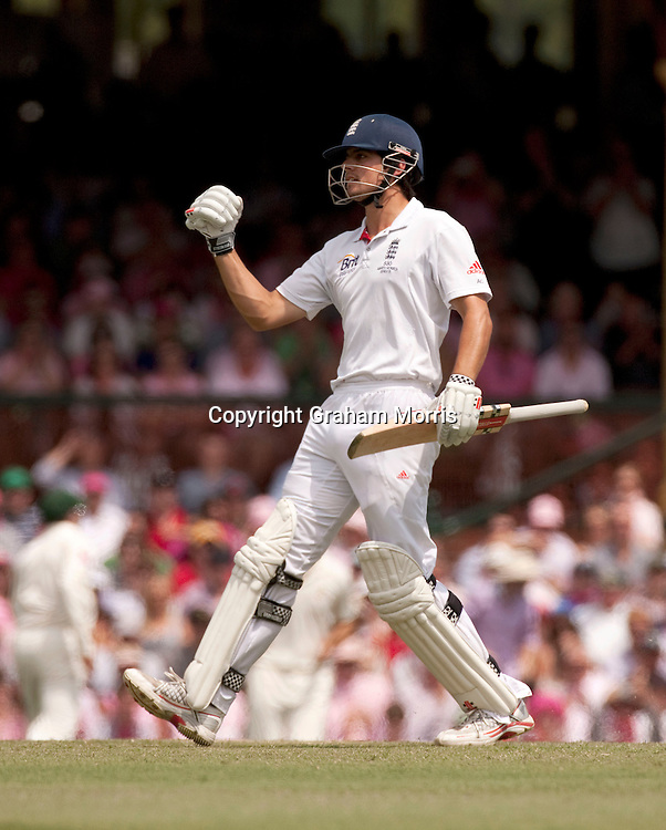 Alastair Cook celebrates his century in the fifth and final Ashes test match between Australia and England at the SCG in Sydney, Australia. Photo: Graham Morris (Tel: +44(0)20 8969 4192 Email: sales@cricketpix.com) 05/01/11