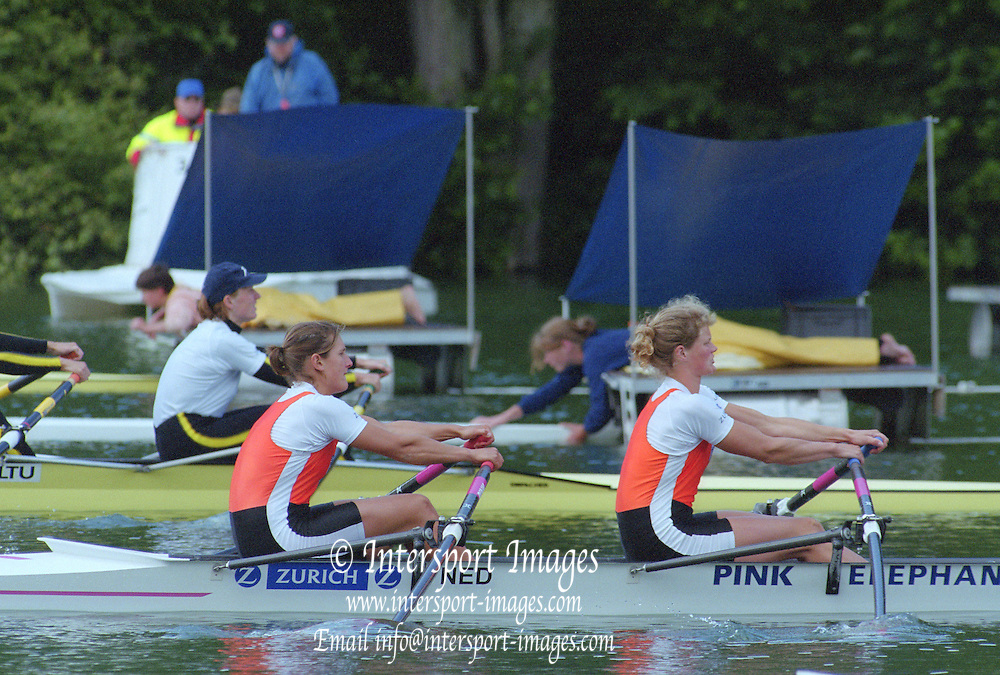 Lucerne, SWITZERLAND,  women's double. NED W2X Bow. Eeke van NES and Pieta van DISHOECK.  2000 FISA World Cup, Rotsee Rowing Course, June 2000.  [Mandatory Credit, Peter Spurrier/Intersport-images] 2000 FISA World Cup, Lucerne, SWITZERLAND