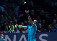 Tennis - 2019 Nitto ATP Finals at The O2 - Day One<br /> <br /> Singles Group Bjorn Borg: Novak Djokovic vs. Matteo Berrettini<br /> <br /> Matteo Berrettini (Italy) serving  <br /> <br /> COLORSPORT/DANIEL BEARHAM