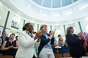 Faculty members give President Roderick McDavis a standing ovation after his address for the Faculty and Staff Convocation in Walter Rotunda, on Wednesday, August 26, 2015. Photo by Kaitlin Owens