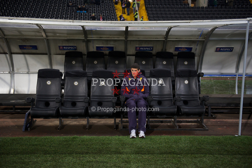 UDINE, ITALY - Thursday, December 6, 2012: Liverpool's unused player Conor Coady on the bench before the final UEFA Europa League Group A match against Udinese Calcio at the Stadio Friuli. (Pic by David Rawcliffe/Propaganda)