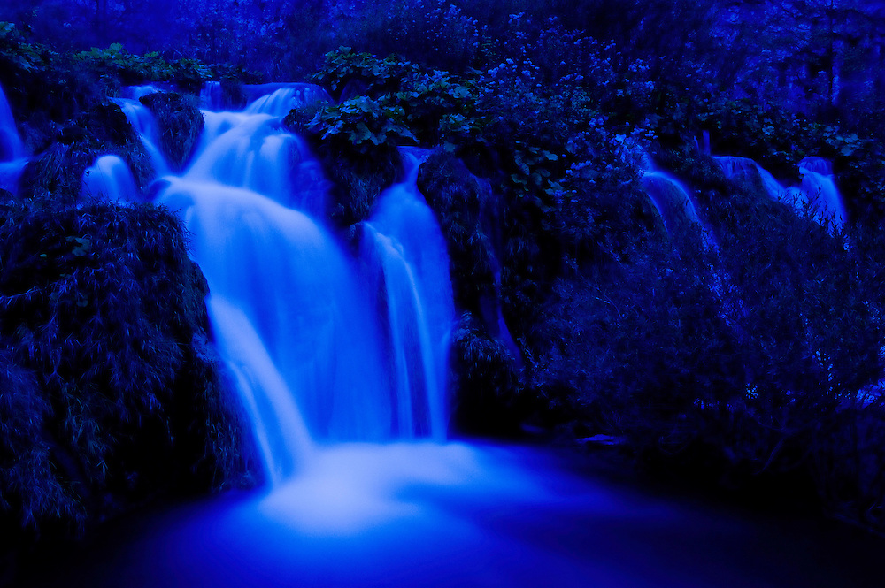 Moonlight on the Velike cascade, Kaluderovac lake, Lower Lakes, Plitvice National Park, Croatia