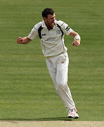 Middlesex's James Harris celebrates taking the last wicket of the Durham innings - Photo mandatory by-line: Robbie Stephenson/JMP - Mobile: 07966 386802 - 04/05/2015 - SPORT - Football - London - Lords  - Middlesex CCC v Durham CCC - County Championship Division One