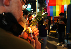 June 14, 2017 - Bangkok, Bangkok, Thailand - Event organizes by Thai LGBTIQ group condolences and memorialize on the 50 victims massacre in Orlando, California. .The event claimed it's the first Thailand's LGBTIQ pride with the motto ''No pride under military government - the dictatorship' (Credit Image: © Thitinun Sampiphat/Pacific Press via ZUMA Wire)