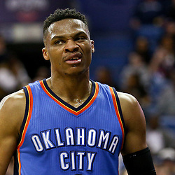 Feb 25, 2016; New Orleans, LA, USA; Oklahoma City Thunder guard Russell Westbrook (0) reacts after scoring against the New Orleans Pelicans during the second quarter of a game at Smoothie King Center. Mandatory Credit: Derick E. Hingle-USA TODAY Sports