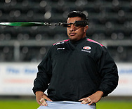 Saracens' Mako Vunipola during the pre match warm up<br /> <br /> Photographer Simon King/Replay Images<br /> <br /> European Rugby Champions Cup Round 5 - Ospreys v Saracens - Saturday 13th January 2018 - Liberty Stadium - Swansea<br /> <br /> World Copyright © Replay Images . All rights reserved. info@replayimages.co.uk - http://replayimages.co.uk