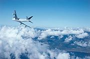 Airplane in flight, banking away