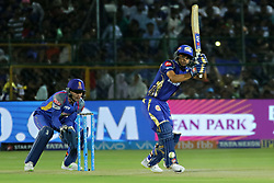 April 22, 2018 - Jaipur, Rajasthan, India - Mumbai Indians batsman Ishan Kishan plays a shot  during the IPL T20 match against  Rajasthan Royals  at Sawai Mansingh Stadium in Jaipur on 22 April,2018.(Photo By Vishal Bhatnagar/NurPhoto) (Credit Image: © Vishal Bhatnagar/NurPhoto via ZUMA Press)