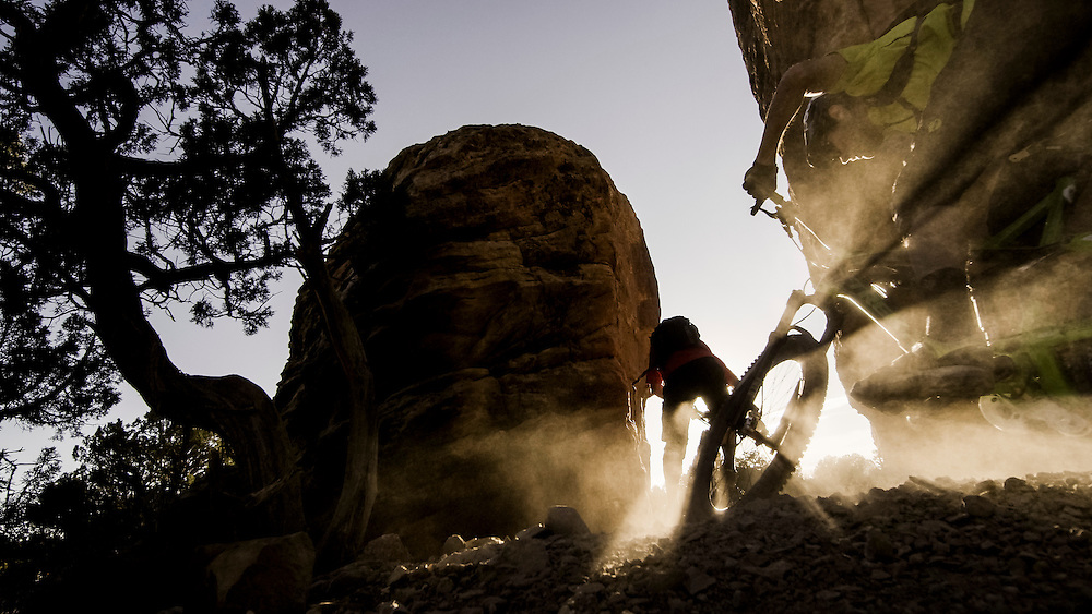 Rene Wildhaber and Ross Schnell ride their bike during the Red Bull Buffalo Soldier Mountain Bike Trip in USA near Paradox Valley (Colorado), on October 10th 2012.