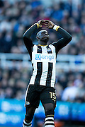 Newcastle United midfielder Mohamed Diame (#15) reacts to missing a shot during the EFL Sky Bet Championship match between Newcastle United and Derby County at St. James's Park, Newcastle, England on 4 February 2017. Photo by Craig Doyle.