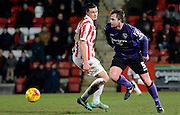 Morecambe captain Mark Hughes during the Sky Bet League 2 match between Cheltenham Town and Morecambe at Whaddon Road, Cheltenham, England on 16 January 2015. Photo by Alan Franklin.