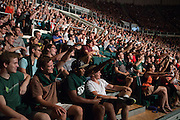 """Ohio University freshmen pose as President Roderick McDavis takes a """"selfie"""" with them during the New Student Convocation on Aug. 24, 2014. Photo by Lauren Pond"""