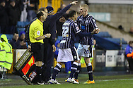 Picture by David Horn/Focus Images Ltd +44 7545 970036<br /> 28/01/2014<br /> DJ Campbell of Millwall comes on for Andrew Keogh of Millwall during the Sky Bet Championship match at The Den, London.