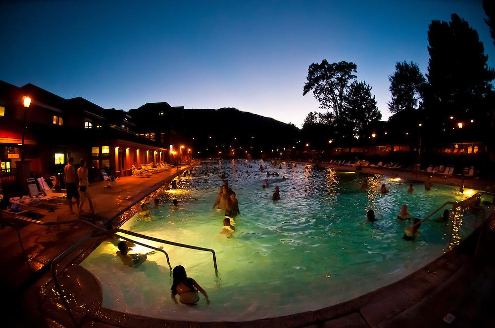Mineral pools at twilight, Glenwood Hot Springs, Glenwood Springs, Colorado USA
