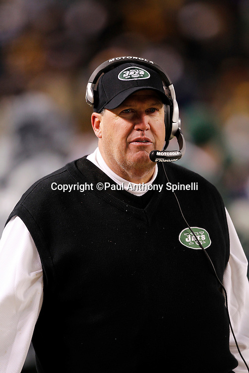 New York Jets head coach Rex Ryan looks on during the NFL 2011 AFC Championship playoff football game against the Pittsburgh Steelers on Sunday, January 23, 2011 in Pittsburgh, Pennsylvania. The Steelers won the game 24-19. (©Paul Anthony Spinelli)