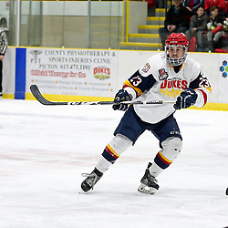WELLINGTON, ON - JANUARY 18: Jacob Thousand #23 of the Wellington Dukes in the third period on January 18, 2019 at Wellington and District Community Centre in Wellington, Ontario, Canada.<br /> (Photo by Ed McPherson / OJHL Images)