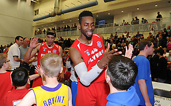 Bristol Flyers' Alif Bland high fives a fan - Photo mandatory by-line: Robbie Stephenson/JMP - Mobile: 07966 386802 - 18/04/2015 - SPORT - Basketball - Bristol - SGS Wise Campus - Bristol Flyers v Leeds Force - British Basketball League