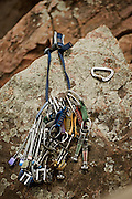 Climbing gear on a rock at Palisades State Park in Eastern South Dakota on March 26, 2010..