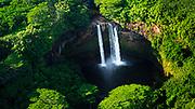 Wailua Falls (aerial), Wailua River State Park, Kauai, Hawaii USA