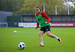 NEWPORT, WALES - Friday, October 5, 2018: Wales' Megan Wynne during a training session at Dragon Park. (Pic by David Rawcliffe/Propaganda)