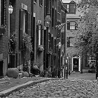 Boston B&W photography of the famous Acorn Street in Beacon Hill. This historic and iconic New England city of Boston night scenery photography image is available as museum quality photography prints, canvas prints, acrylic prints or metal prints. Fine art prints may be framed and matted to the individual liking and decorating needs:<br />