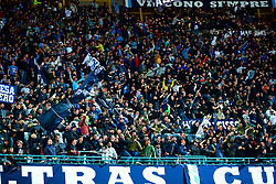 NAPLES, ITALY - Wednesday, October 3, 2018: Napoli supporters celebrate their side's injury time winning goal during the UEFA Champions League Group C match between S.S.C. Napoli and Liverpool FC at Stadio San Paolo. (Pic by David Rawcliffe/Propaganda)