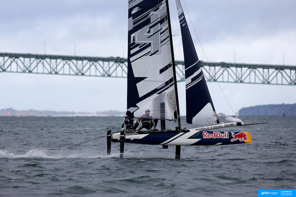 NEWPORT, RHODE ISLAND- OCTOBER 22: The Denmark team of Frederik Just Melson and Markus Oliver Nielsen in action during the Red Bull Foiling Generation World Final 2016 on October 22, 2016 in Narragansett Bay, Newport, Rhode Island. (Photo by Tim Clayton/Corbis via Getty Images)