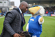 Southend United manager Sol Campbell walking onto the pitch and not slapping hands with Haydon the Womble during the EFL Sky Bet League 1 match between AFC Wimbledon and Southend United at the Cherry Red Records Stadium, Kingston, England on 1 January 2020.