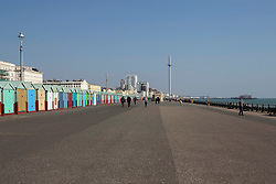General view of the seafront in Hove, near Brighton, East Sussex, as the UK continues in lockdown to help curb the spread of Coronavirus.