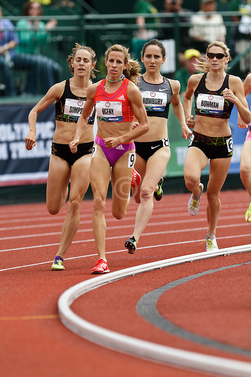 Olympic Trials Eugene 2012: women's 1500 meters final, Morgan Uceny leads Simpson, Rowbury
