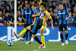 September 18, 2018 - Brugge, BELGIUM - Club's Mats Rits and Dortmund's Axel Witsel fight for the ball during a game between Belgian soccer team Club Brugge KV and German club Borussia Dortmund, in Brugge, Tuesday 18 September 2018, day one of the UEFA Champions League, in group A. BELGA PHOTO KURT DESPLENTER (Credit Image: © Kurt Desplenter/Belga via ZUMA Press)