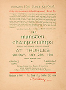 Munster Senior and Minor Hurling Championship Final, .07281940MSMHF.28.07.1940, 07.28.1940, 28th July 1940, ..Senior Cork v Limerick.Minior Limerick v Clare.