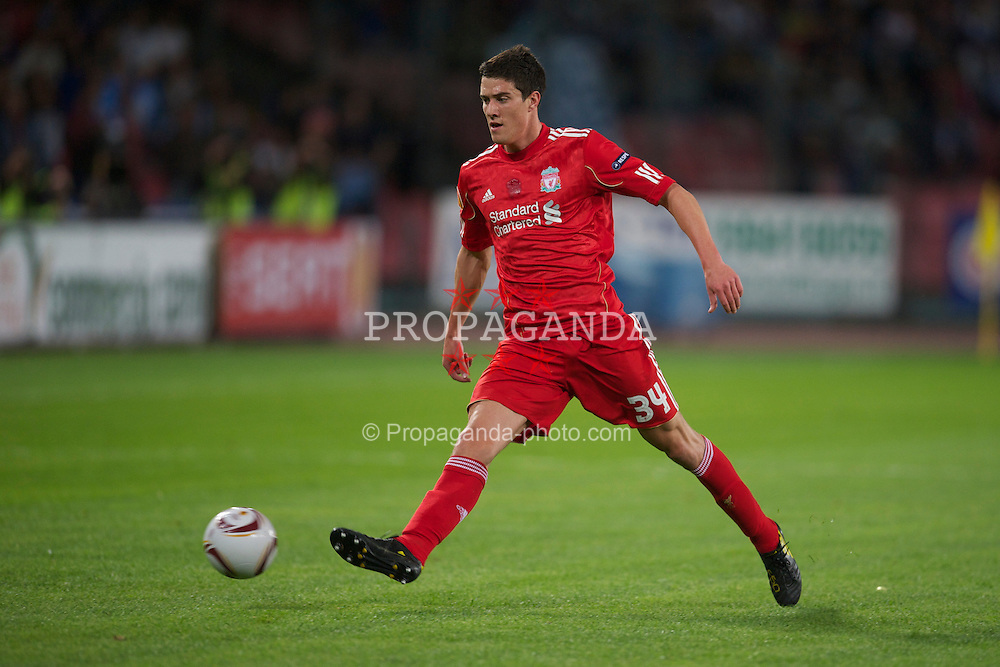NAPELS, ITALY - Thursday, October 21, 2010: Liverpool's Martin Kelly in action against SSC Napoli during the UEFA Europa League Group K match at the Stadio San Paolo. (Pic by: David Rawcliffe/Propaganda)