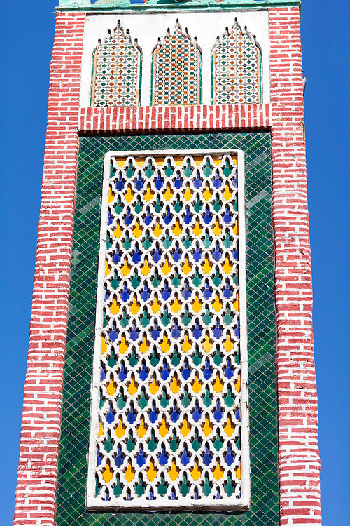 TETOUAN, MOROCCO - 6th April 2016 - Abstract photo of colourful Moroccan Mosque minaret architecture in Tetouan Medina, Rif region of Northern Morocco.