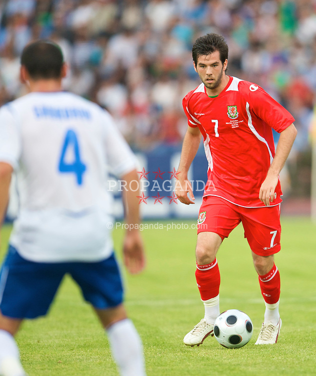 BAKU, AZERBAIJAN - Saturday, June 6, 2009: Wales' captain Joe Ledley in action against Azerbaijan during the 2010 FIFA World Cup Qualifying Group 4 match at the Tofig Bahramov Stadium. (Pic by David Rawcliffe/Propaganda)