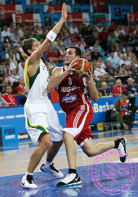Wroclaw 09/09/2009.EuroBasket 2009.Preliminary Round - Group D.Lithuania v Bulgaria.Filip Videnov of Bulgaria and Mindaugas Lukauskis of Lithuania ..Photo by : Piotr Hawalej / WROFOTO
