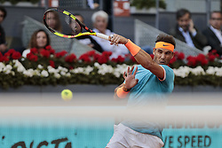 May 9, 2019 - Madrid, Spain - Rafael Nadal in action during the Day 6 of the Mutua Madrid Open Masters match against Frances Tiafoe at Caja Magica in Madrid. (Credit Image: © Legan P. Mace/SOPA Images via ZUMA Wire)