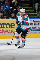 KELOWNA, CANADA - JANUARY 24: Dylen McKinlay #19 of the Kelowna Rockets skates on the ice against the  Seattle Thunderbirds at the Kelowna Rockets on January 24, 2013 at Prospera Place in Kelowna, British Columbia, Canada (Photo by Marissa Baecker/Shoot the Breeze) *** Local Caption ***