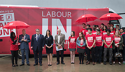 © Licensed to London News Pictures. 10/05/2016. London, UK. Labour Party leader Jeremy Corbyn (5L) and Alan Johnson, Chairman of 'Labour In for Britain' unveil their campaign bus.  Labour deputy Tom Watson and Gloria De Piero, Shadow Minister for Young People and Voter Registration, also attended. Photo credit: Peter Macdiarmid/LNP